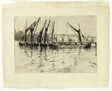 Coal Barges Unloading (recto); Sketch of a Building (verso)