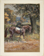 Horse and Rider with Hunt Beyond