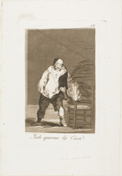 And his house is on fire, plate 18 from Los Caprichos