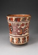 Beaker Depicting Costumed Ritual Performer with Abstract Trophy Heads, Heavily Restored