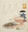 "Jar, scales and bowl, no. 6 from the series ""The Rabbit's Boastful Exploits (Usagi tegarabanashi)"""