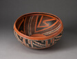 Bowl with Geometric Black-and-White Motifs on Interior and Exterior Survace