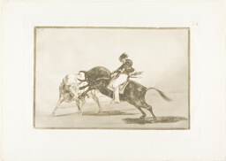The Same Ceballos, Mounted on Another Bull, Breaks Short Spears in the Ring at Madrid, plate 24 from The Art of Bullfighting