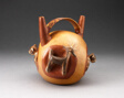 Double Spout Bridge Vessel with Molded Animals Emerging from Sides
