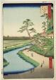 "Basho's Hut on Camellia Hill Beside the Aquaduct at Sekiguchi (Sekiguchi josui-bata Bashoan Tsubakiyama), from the series ""One Hundred Famous Views of Edo (Meisho Edo hyakkei)"""