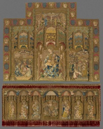 Retable (Depicting Madonna and Child, Nativity, and Adoration of the Magi; Altar Frontal Depicting the Resurrection and Six Apostles)