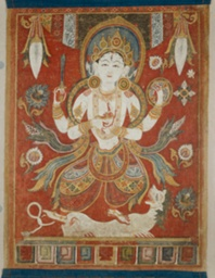 Double-Sided Painted Banner (Paubha) with God Shiva and Goddess Durga