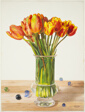 Tulips in Vase with Marbles