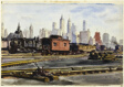Railroad Yards with New York Skyline