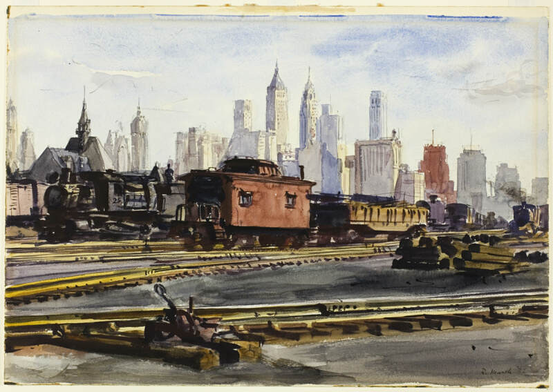 Railroad Yards With New York Skyline The Art Institute