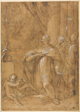San Carlo Borromeo Adoring an Image of the Birth of the Virgin
