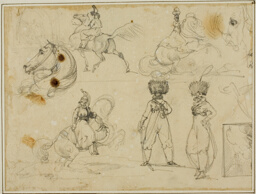 Sheet of Sketches: Soldiers, Horses and a Landscape