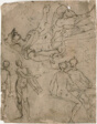 Sketches of Seated Warrior, Various Figures
