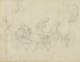 Stagecoach Drawn by Five Horses and Other Sketches