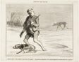 """- I wonder why this beast is following me all the time... I'll happily be paying 6 sous to jump on a bus,"" plate 1 from Émotions De Chasse"