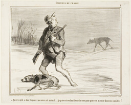 """""""- I wonder why this beast is following me all the time... I'll happily be paying 6 sous to jump on a bus,"""" plate 1 from Émotions De Chasse"""