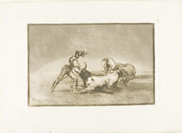 A Spanish knight kills the bull after having lost his horse, plate nine from The Art of Bullfighting