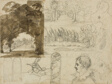 Sketches of Park Views, Heads, a Horse