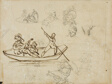 Sketches of a Musical Boating Party and of a Woman Wearing a Tall Hat