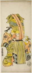 "The Actors Ichikawa Danjuro II as Kamada Matahachi and Ichikawa Monnosuke I as Hisamatsu in the play ""Osome Hisamatsu Shinju Tamoto no Shirashibori,"" performed at the Morita Theater, 1720"