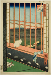 "Asakusa Rice Fields and Torinomachi Festival (Asakusa tanbo Torinomachi mode), from the series ""One Hundred Famous Views of Edo (Meisho Edo hyakkei)"""