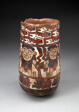 Beaker Depicting Rows of Figures Holdings Staffs or Plants with Geometric Motifs
