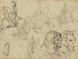 Sketches of Mounted Carabiniers and Heads of Horses