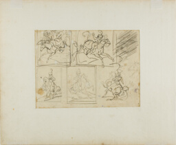 Four Sketches of a Mounted Trumpeter, and a Polish Lancer