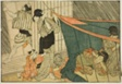 "Women Inside a Mosquito Net During a Thunderstorm, from the illustrated book ""Picture Book: Flowers of the Four Seasons (Ehon shiki no hana),"" vol. 1"