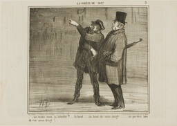 """""""- Can you see the comet?... just there, at the tip of my finger ... don't lose sight of my finger tip!,"""" plate 5 La Cométe De 1857"""