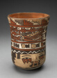 Beaker Depicting Human Head with Face Painting; and Abstract Costumed Figures