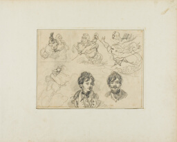 Sheet of Sketches: Riders, Mermaids and Two Portraits of Young Men