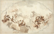 Design for a Ceiling: Apotheosis of Callisto (recto), and Sketch of Figures (verso)