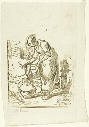 Woman Filling Water-Cans