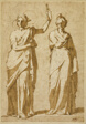 Two Standing Female Figures (Studies after Classical Statuary)