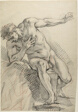 Sketch of a Male Nude Leaning on Right Elbow (recto)
