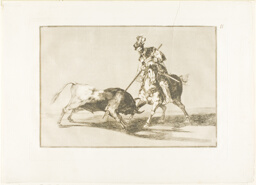 The Cid Campeador spearing another bull, plate eleven from The Art of Bullfighting