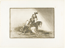 Charles V spearing a bull in the ring at Valladolid, plate ten from The Art of Bullfighting