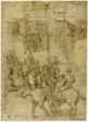 Mythological Pageant (recto); Illegible Inscriptions and Anatomical Studies of Head (verso)