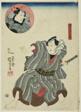 The actors Ichimura Uzaemon XII as Goshaku Somegoro and Onoe Kikugoro III as Denkichi Tsuchizaemon (inset)