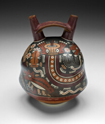 Double-Spouted Vessel Depicting a Landscape with Coyotes and Cactus