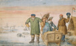 Two Old Men beside a Sled Bearing the Coats of Arms of Amsterdam and Utrecht