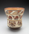 Beaker Depicting Bands of Spotted Birds and Geometric Motifs