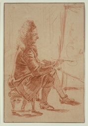 A Bewigged Painter (Possibly Claude Audran), Seated at his Easel, Seen in Profile