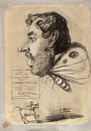 """Caricature of Jules Didier (""""Butterfly Man"""")"""
