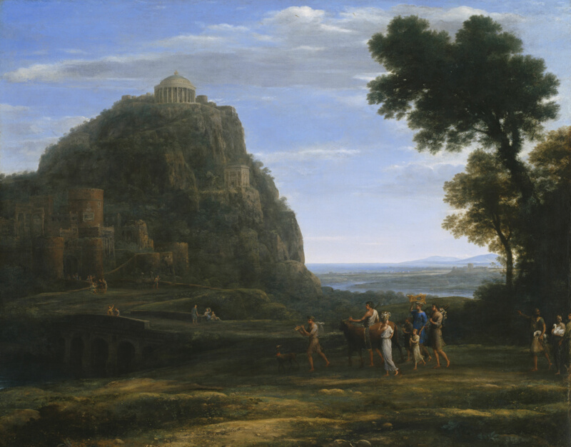 Landschaftsmalerei renaissance  View of Delphi with a Procession | The Art Institute of Chicago