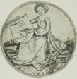Shield with a Swan, Held by a Seated Lady