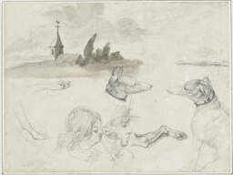 Sheet of Sketches: Greyhounds; A Male and a Female Head in