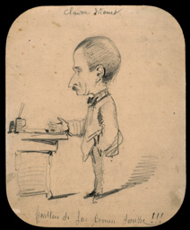 Caricature of a Man Standing by Desk (recto); Sketch of Male Head in Profile (verso)