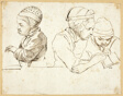 Three Children (recto); Sketches of Head, Eyes, Lips, and Flowers (verso)